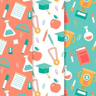Colección de patrones de objetos y libros de química