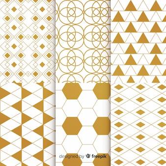 Colección de patrones de oro de lujo geométrico