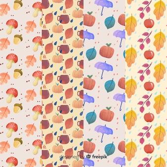 Colección de patrones de otoño de acuarela.