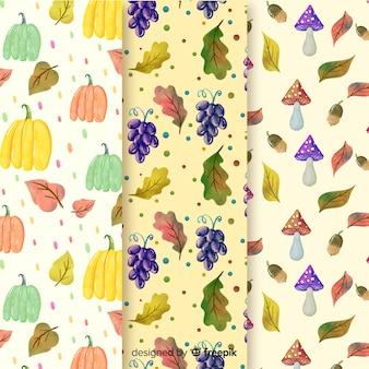Colección de patrones de otoño en acuarela