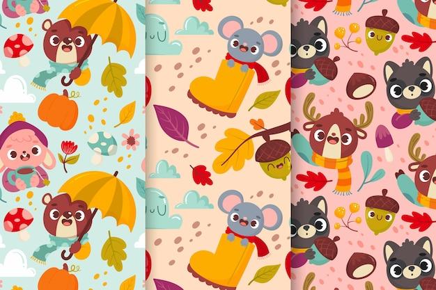 Colección de patrones de otoño de dibujos animados