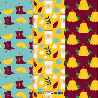 Colección de patrones de otoño de diseño plano