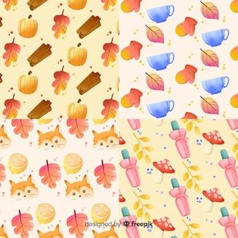 Colección de patrones de otoño estilo acuarela.