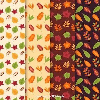 Colección de patrones de otoño estilo plano.