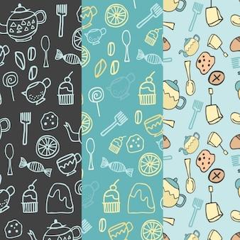 Colección de patrones de pastelería dibujados a mano