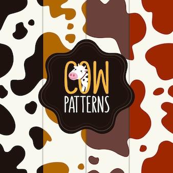 Colección de patrones de piel de vaca. diseño sin costuras