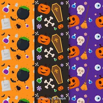 Colección de patrones planos con accesorios de halloween con elementos oscuros