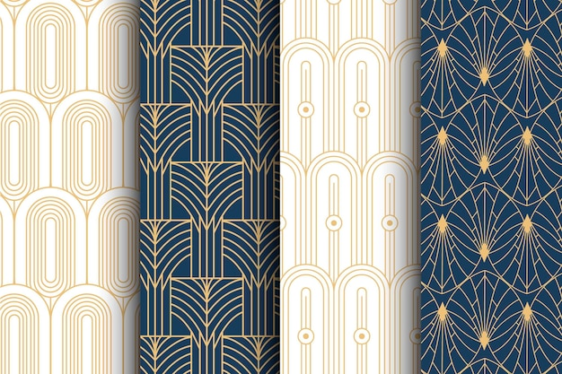 Colección de patrones planos art deco