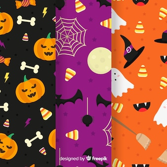 Colección de patrones planos con decoración de halloween