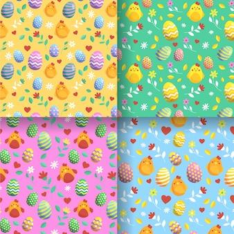 Colección de patrones planos del día de pascua