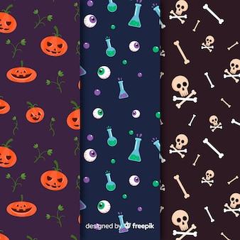 Colección de patrones planos de elementos de halloween