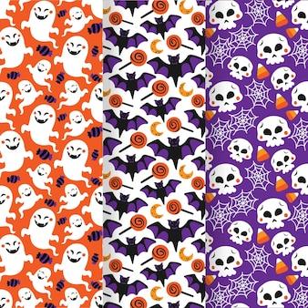Colección de patrones planos de halloween dibujados a mano