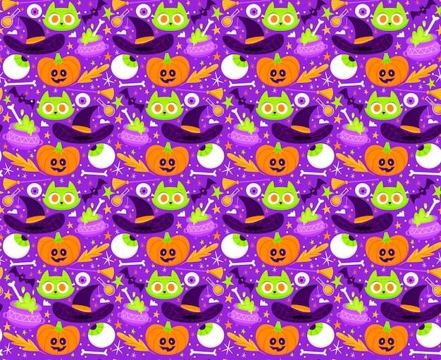 Colección de patrones planos de halloween