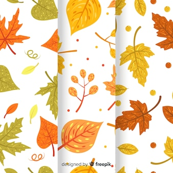 Colección de patrones planos de otoño.