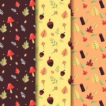 Colección de patrones planos de otoño