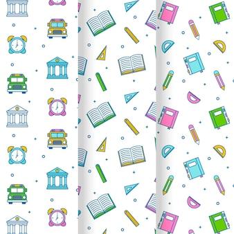 Colección de patrones planos de regreso a la escuela