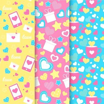 Colección de patrones planos de san valentín