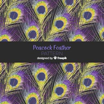 Colección de patrones de plumas de pavo real en acuarela