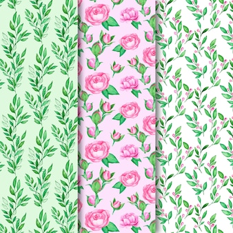 Colección de patrones de primavera de acuarela con flores de colores