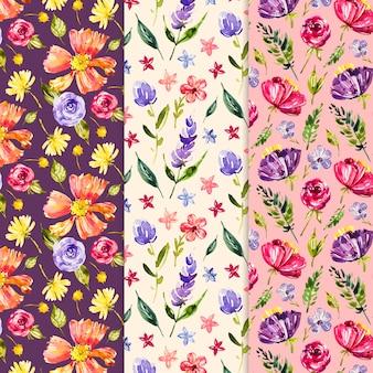 Colección de patrones de primavera acuarela multicolor