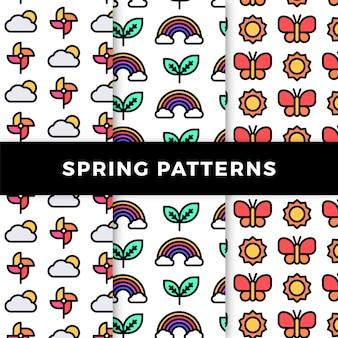 Colección de patrones de primavera con arcoiris y mariposas