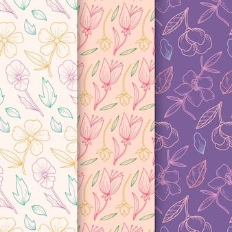 Colección de patrones de primavera dibujados a mano en diseño floral