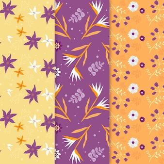 Colección de patrones de primavera dibujados a mano con flores de colores