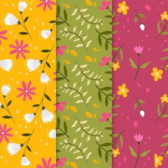 Colección de patrones de primavera dibujados a mano con flores