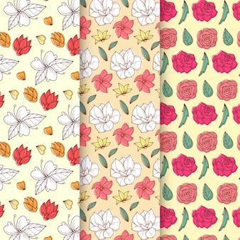 Colección de patrones de primavera dibujados a mano con hermosas flores