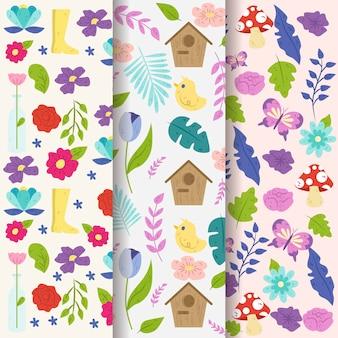 Colección de patrones de primavera dibujados a mano con hojas y pájaros