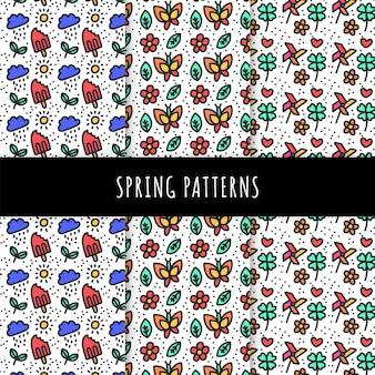 Colección de patrones de primavera dibujados a mano con mariposas y helados