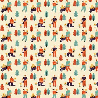 Colección de patrones de primavera dibujados a mano con personas y jardinería