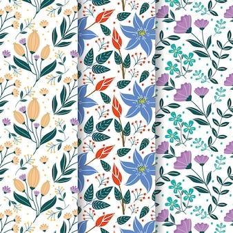 Colección de patrones de primavera dibujados a mano