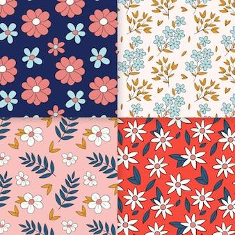 Colección de patrones de primavera dibujados