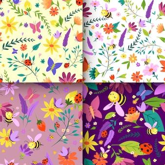 Colección de patrones de primavera de diseño dibujado a mano