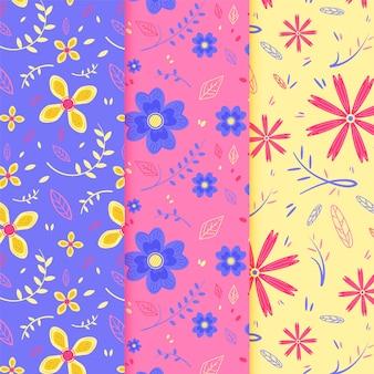 Colección de patrones de primavera de diseño plano
