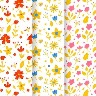 Colección de patrones de primavera en estilo dibujado a mano