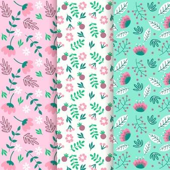 Colección de patrones de primavera estilo dibujado a mano