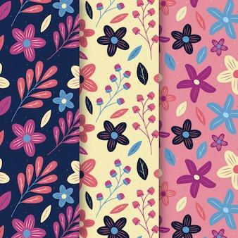 Colección de patrones de primavera de estilo plano