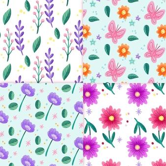Colección de patrones de primavera de flor de acuarela