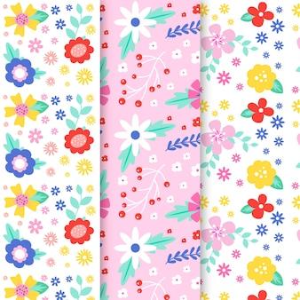 Colección de patrones de primavera con flores de colores