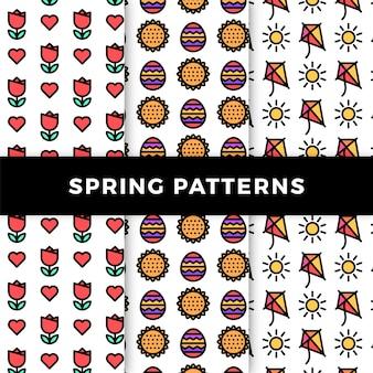 Colección de patrones de primavera con flores y cometas