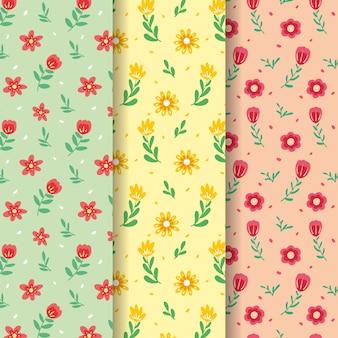 Colección de patrones de primavera de flores pequeñas coloridas de campo