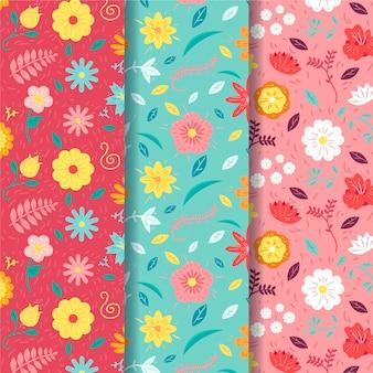 Colección de patrones de primavera con flores