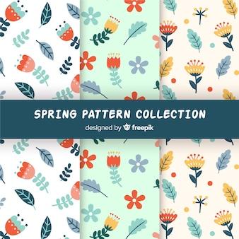 Colección patrones primavera hojas y flores