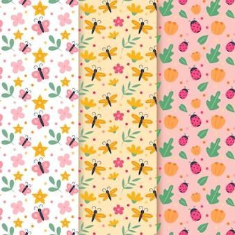 Colección de patrones de primavera con mariposas y mariquitas