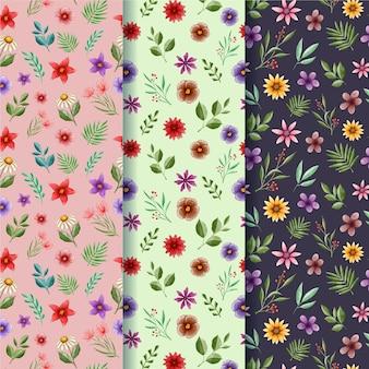 Colección de patrones de primavera pintados a mano