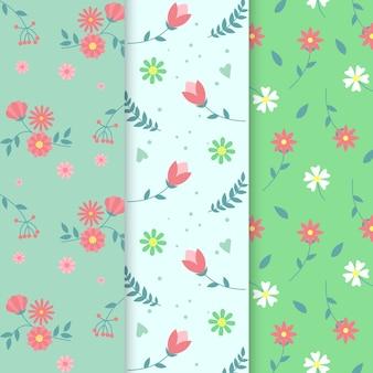 Colección de patrones de primavera plana y colorida