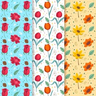 Colección de patrones de primavera plana