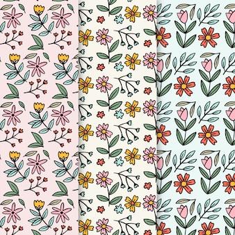 Colección de patrones de primavera retro